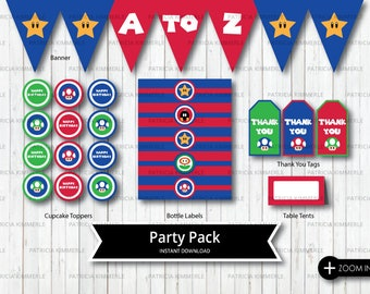 Printable Party Pack, Video Game Party, Super, Gaming, Level Up, Gamer, Birthday, Decorations, DIY, INSTANT DOWNLOAD