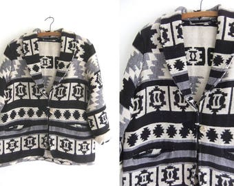 Woven Geometric Tapestry Jacket - Southwestern Ikat Minimalist Tribal Pattern Blanket Coat 90s Blazer - Womens Large
