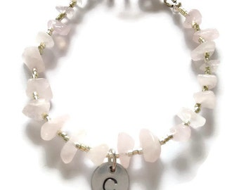 Pink quartz bracelet with initial