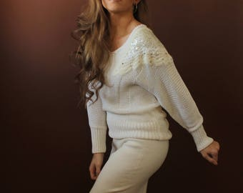 The Ivory Sweater / fuzzy white knit sweater / embellished sequin sweater / oversized v neck sweater / angora sweater / vintage 80s / small