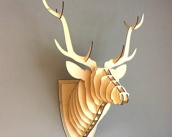 Layered wooden Reindeer/Stag head wall trophy