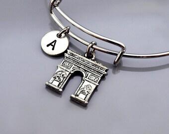 Arc de Triumph, Arc de Triomphe, Paris France, Arch of Triumph, French theme, Expandable bangle, Personalized bracelet, Initial bracelet