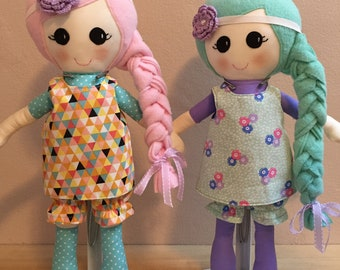 Candy Color Fabric Doll, Fabric Doll, Rag Doll, Handmade Doll, Soft Doll, Doll with removable clothes,