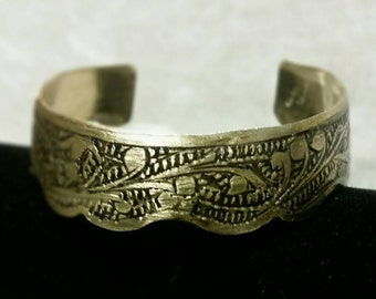 Handmade vintage brass cuff bracelet