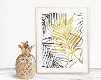 Tropical Gold Leaf Art Print - Instant Digital Download