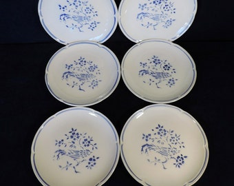 Moulin des Loups Orchies, vintage French, Art Deco set of 4 luncheon plates