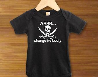 Bodysuit or Toddler Shirt, Arrrr... Change Me Booty Black Pirate, Baby Bodysuit, Baby Shower Gift, Girls, Boys