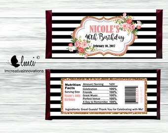 Black and White Striped Candy Bar Wrappers, Birthday Candy Bar Wrappers