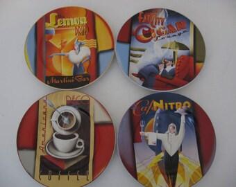 Sakura Down Town Art Deco Plates - Set of 4