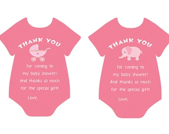 Printable Baby Shower Thank You Card, Baby Girl, Baby Shower, Onesie Thank you card, Cut Out Thank you card DIGITAL DOWNLOAD