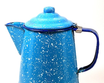 Blue Graniteware coffee pot, Camping, Farmhouse, Cottage Chic,  Blue & white speckled enamel.