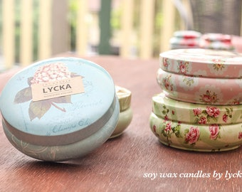 Vintage tin can I Scented Soy Wax Candles I Handmade I Travel Candles