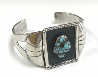 Vintage Solid  Sterling Silver  Cuff Bracelet With  Natural Blue Turquoise !!!