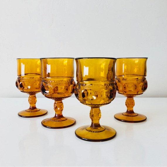 Vintage Orange Glassware Set of (4) Kings Crown Mid Century Glass Amber Goblets Retro Stemware