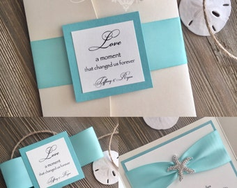 Rhinestone Starfish Pocket Folder Invitation - Beach Wedding Invitation - Destination Wedding Invitation - Pocket Invitations - Seaside