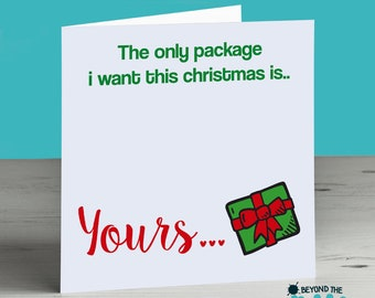 Funny Rude Adult Christmas Card - The Only Package I Want Is Yours - Funny Boyfriend Christmas Card, Funny Husband Christmas Card