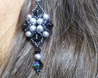 Baroque style crystal earrings, pendant earrings, beaded earrings, black and silver earrings, diamond earrings, elegant earrings