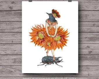 Bird Dancer 5 . printable poster collage orange botanical bird . instant download unique wall art . tropical decor . gallery wall