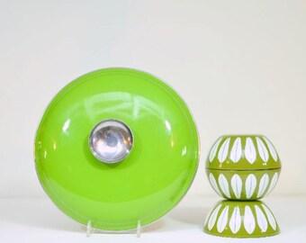 Mid Century Modern Cathrineholm Green Enamel 9 Inch Diameter Lotus Sauce Pan Lid Only