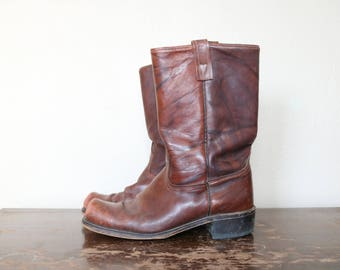 1970s Vintage Distressed Leather Boots