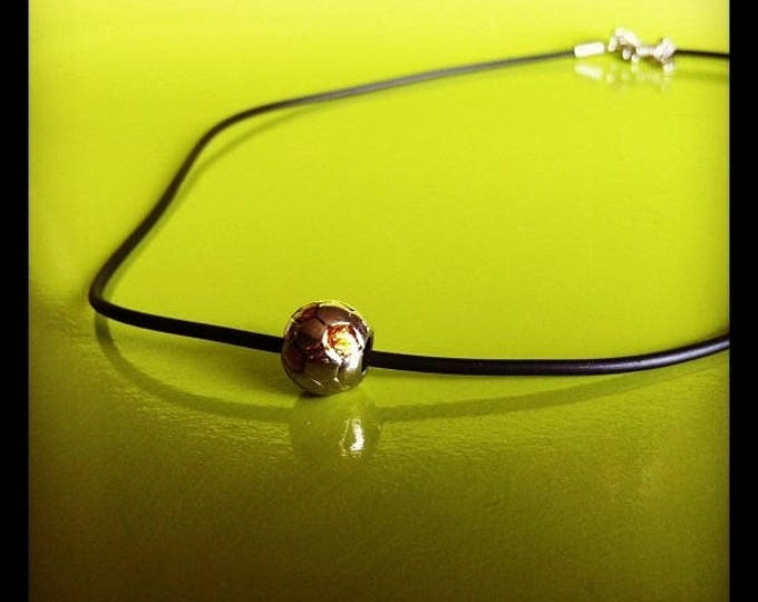 Rubber and silver and yellow soccer ball Euro2012 charm necklace