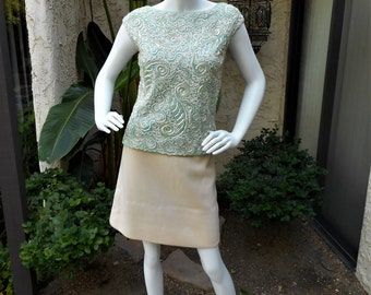 Vintage 1960's Seafoam Green Sleeveless Top with Sequins- Size 10