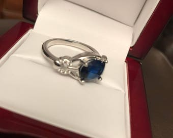 White and Blue Sapphire Ring in Sterling Silver