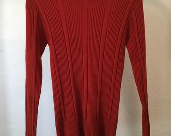 Vintage Rust High Neck Ribbed Top