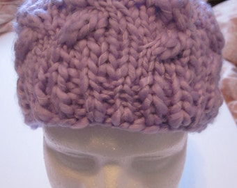 New light purple cable headband/chunky thick hairband/knit hair ear warmer/accessories tricotes