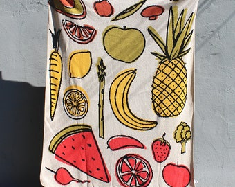 Fruit and Vegetable Knit Throw Blanket - Colorful Home Decor - Garden Veggies - Foodie Gifts - Food Decor - Pineapple Watermelon Citrus