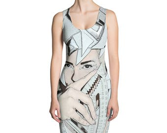 Womens Silver Gray Benevolent Bisector Graphic print tank bodycon Sublimation Dress fashion art avant garde