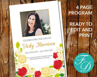 Funeral Program Template Celebration of Life Obituary