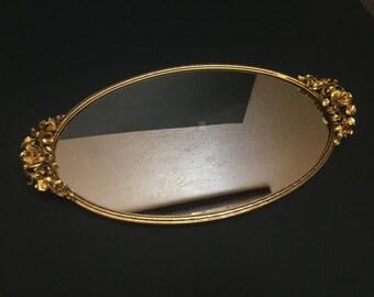 Vintage Matson Roses Oval Mirror