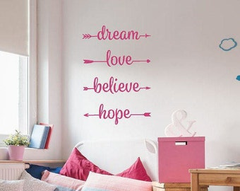 Love Arrow Wall Decal | Boho Arrow Wall Decal | dream love believe hope | Mother's Day Gift | Vinyl Wall Art | Arrow Wall Decor CE144