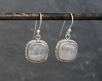 Moonstone Earrings, Rainbow Moonstone Earrings, Silver Earrings, Gemstone Earrings, Square Earrings, Sterling Silver, 925