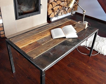 Handmade Reclaimed Wood & Steel Coffee Table Vintage Rustic Industrial Coffee Table loft end table unique
