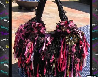 Fringe Handbag,Big fringe Tote,pink black fringe,upcycled handbag,Custom made Purse,Funky,Unique,one of a kind