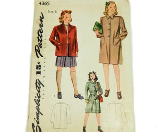 1940s Uncut Sewing Pattern Simplicity 4365 Girl's Coat