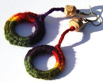 Statement Jewelry Ideas Rainbow Croche Circle Earrings Natural Tree Branch Wooden Bead bohemian jewelry crocheted jewelry gypsy earrings