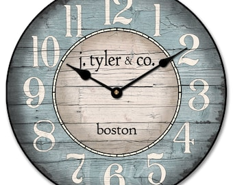 Boston Harbor Blue Wall Clock