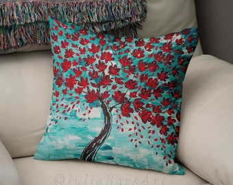 Decorative Pillow for Couch, Throw Pillow Cover, Blue Red Art Pillow, Cherry Pillow, Home Decor, Modern Pillow, Cushion Cover, Toss Pillow