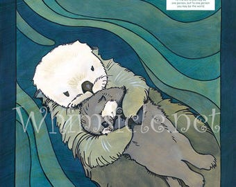 Otter Art inspired by fortune cookies matted Otter Print