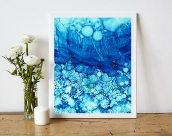 Blue Abstract Printable, Abstract Art Print, Abstract Painting Print, Alcohol Ink Painting, 8x10 Print Modern Home Decor, Coastal Home Decor
