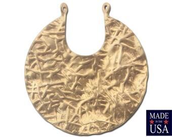 2 Loop Raw Brass Crinkle Textured Hoops Pendants (2) mtl182A