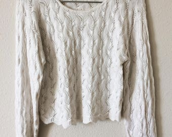 White Textured Sheer Cutout Knit Jumper Sweater Punk Psych Goth
