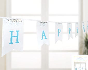Happy 1st Birthday Bunting - boy first birthday banner - blue and white with a speckle of gold, first birthday boy