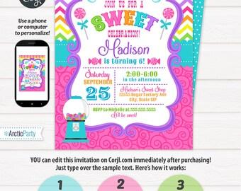 Candyland Invitations - Candy land Birthday Invitation - Candy Invitations - Cupcake Birthday - Cupcake Invitation - Edit using Corjl