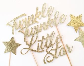 Twinkle Twinkle Little Star Cake Topper / Twinkle Cake Topper / Birthday Cake Topper / Star Cake Topper