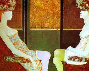 "Vintage 13X17"" Leonor Fini Print features the image:  Harmonica Train"