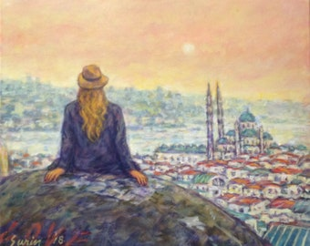 Istanbul with Love, original painting. Free shipping